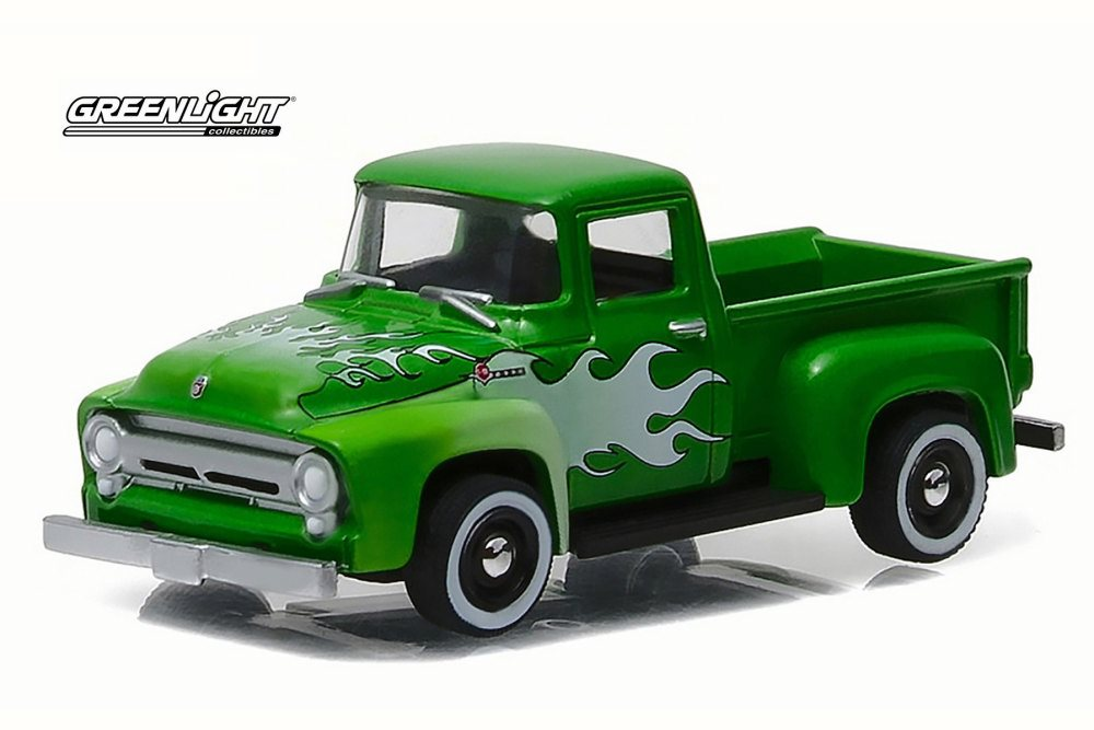 Ford F  Pick Up Truck Green W White Flames