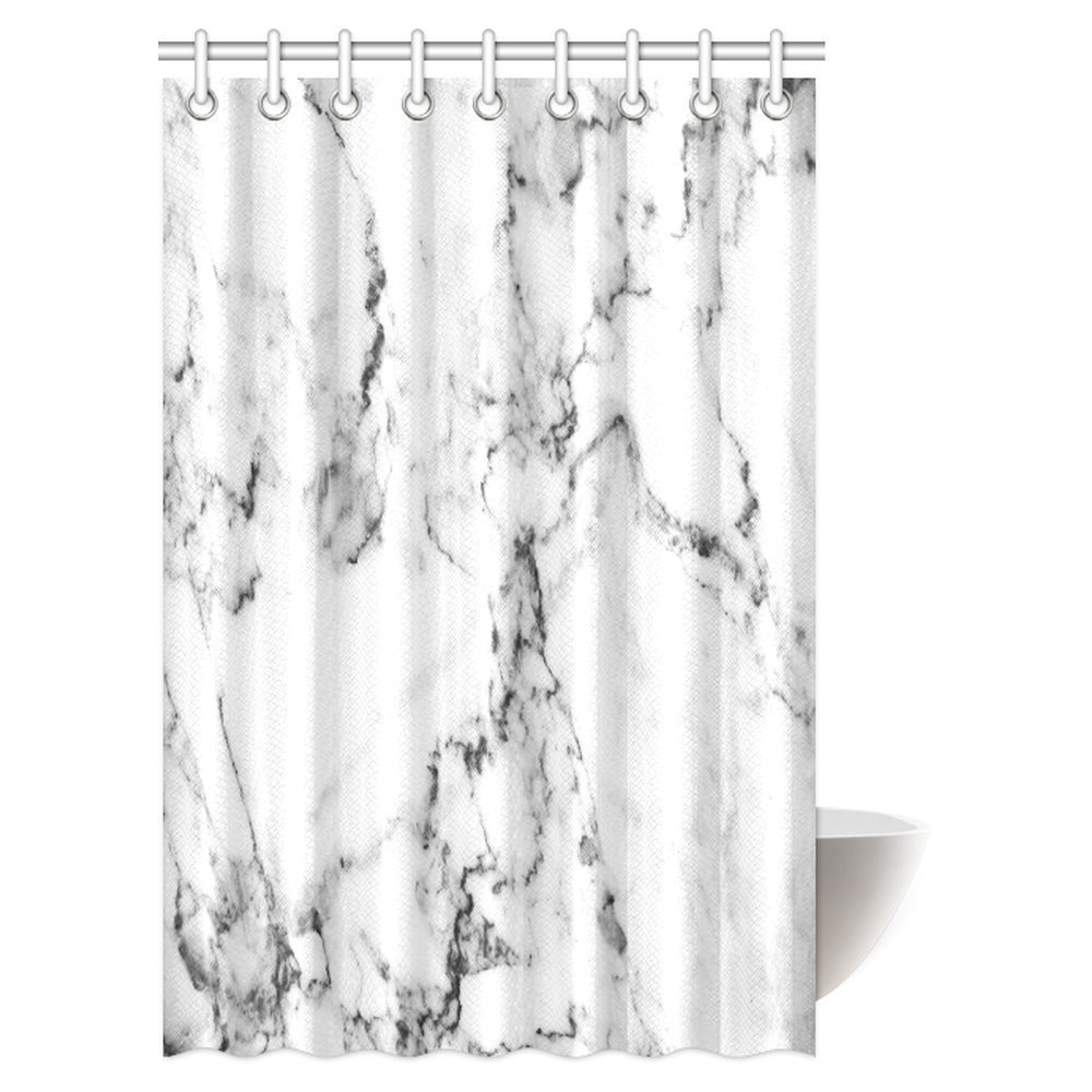 Grey White Shower Curtain Waterproof Fabric Bathroom Curtains with Ring Hooks