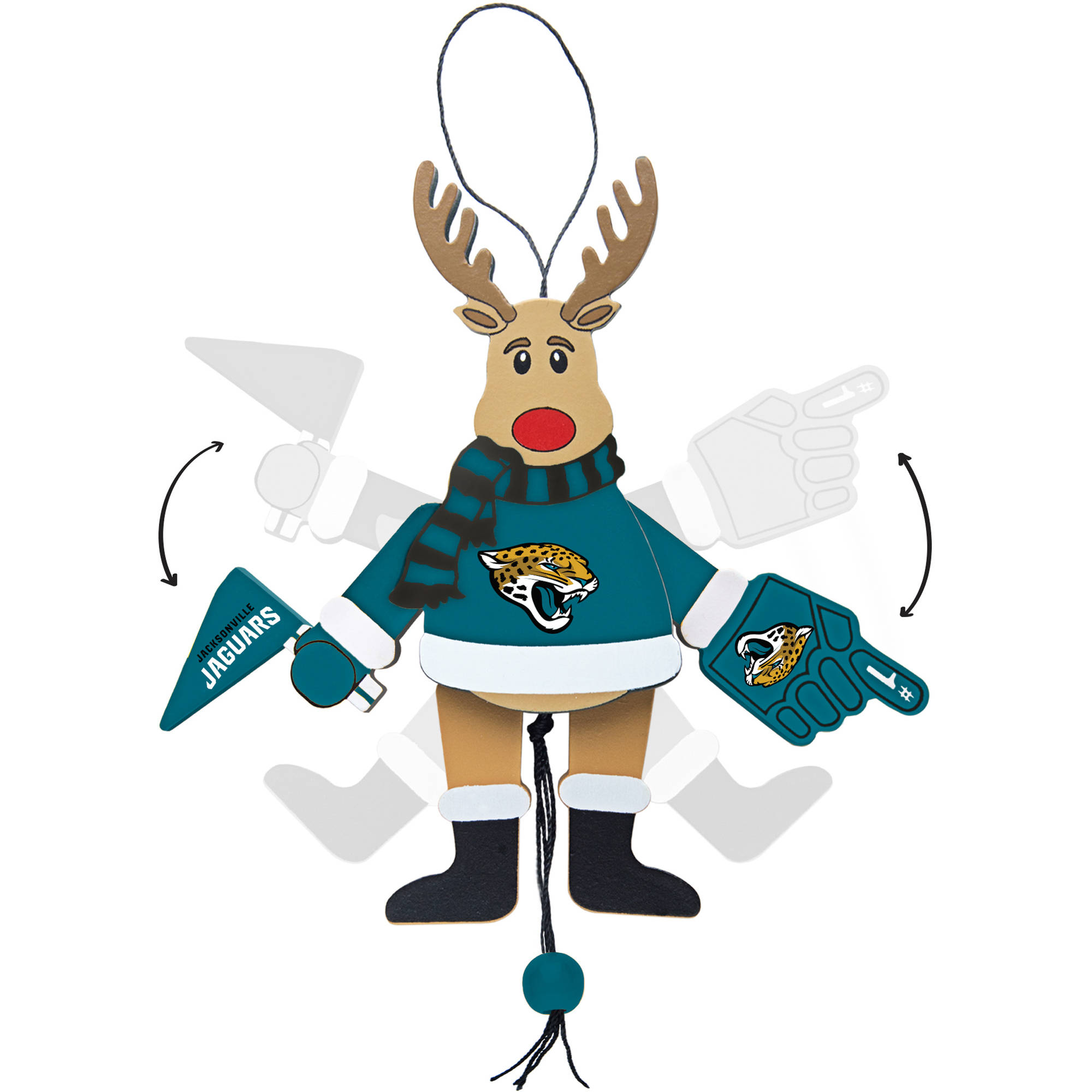 Topperscot by Boelter Brands NFL Wooden Cheering Reindeer Ornament, Jacksonville Jaguars