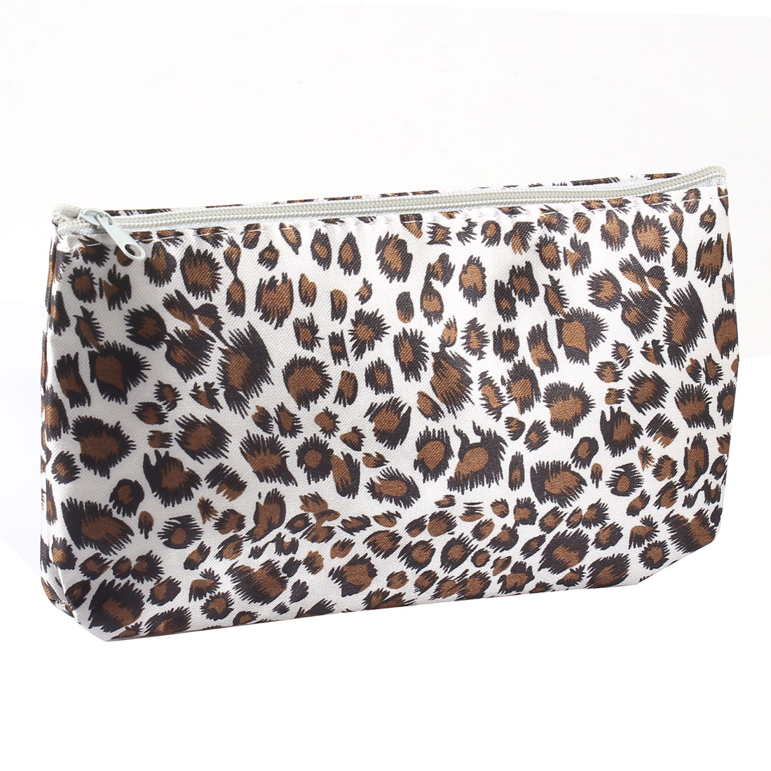Black Brown Leopard Pattern Cosmetic Bag Makeup Holder White w Mirror