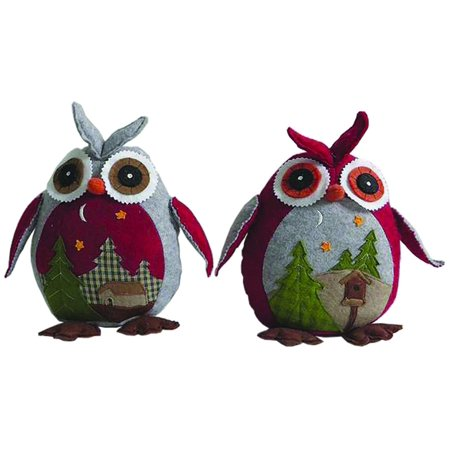 set of 2 country rustic woodland inspired owl christmas decorations 10