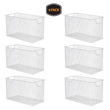 Ybm Home Household White Wire Mesh Open Bin Shelf Storage Basket Organizer Upper: 10.75 in. L x 5.5 in. W x 6.5 in. H. 6 Pack - Baskets In Bulk