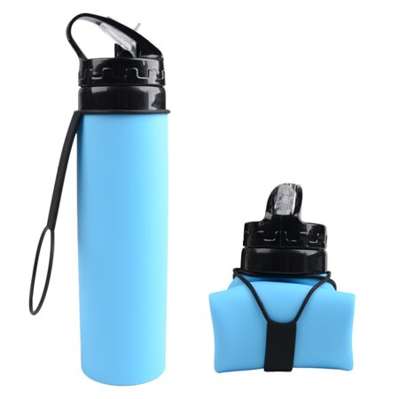 Collapsible Water Bottle - Silicone Foldable with Leak Proof Valve BPA Free, 21 (Best No Leak Water Bottle)