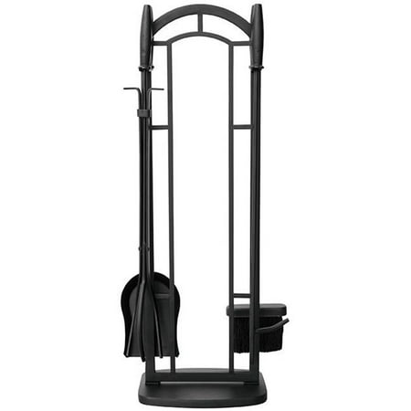 5 PC BLACK WROUGHT IRON FIRESET WITH CYLINDER HANDLES ()