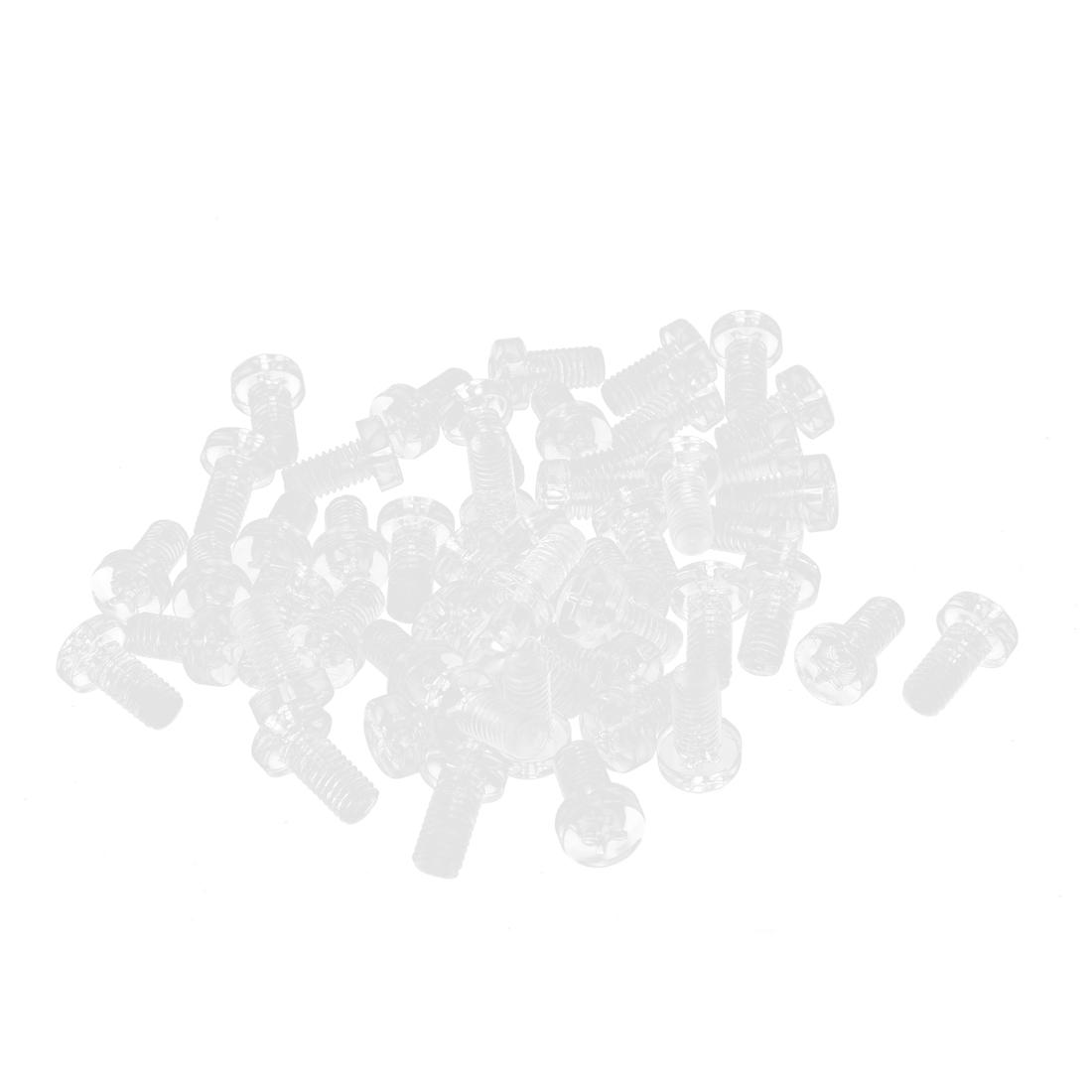 M6 x 12mm 1mm Pitch Phillips Pan Head Machine Screw Bolt Clear 50 Pcs - image 2 of 2