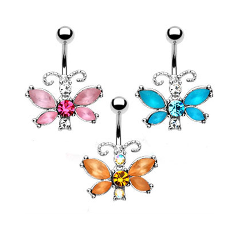 MsPiercing Fairy Butterfly Belly Button Ring