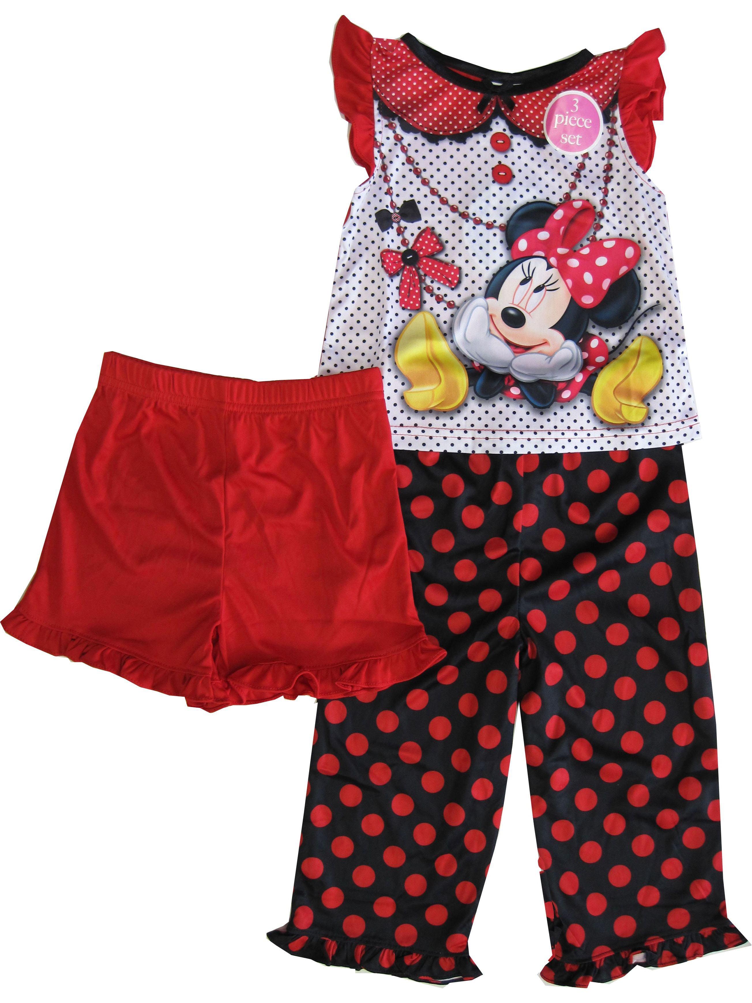 Disney Little Girls Black Red Polka Dot Minnie Print 3 Pc Pajama Set 2-4T