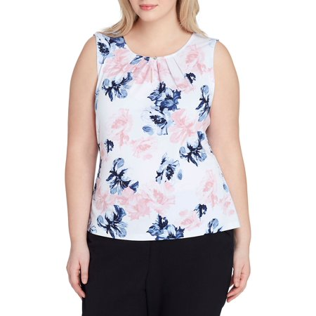 bcc0b753 Tahari Arthur S. Levine - Plus Floral Sleeveless Blouse - Walmart.com