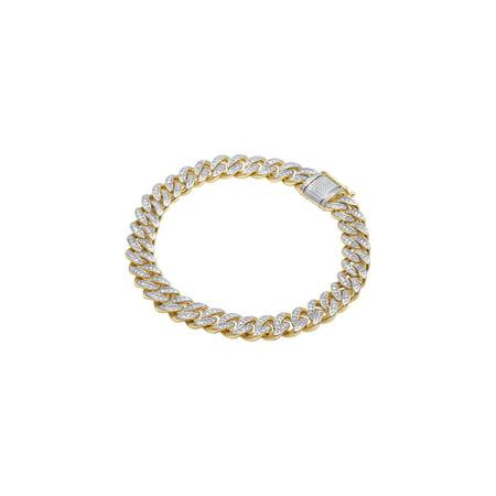 - Men's 10K Yellow Gold Real Diamond Miami Cuban Bracelet 1 CT 9MM