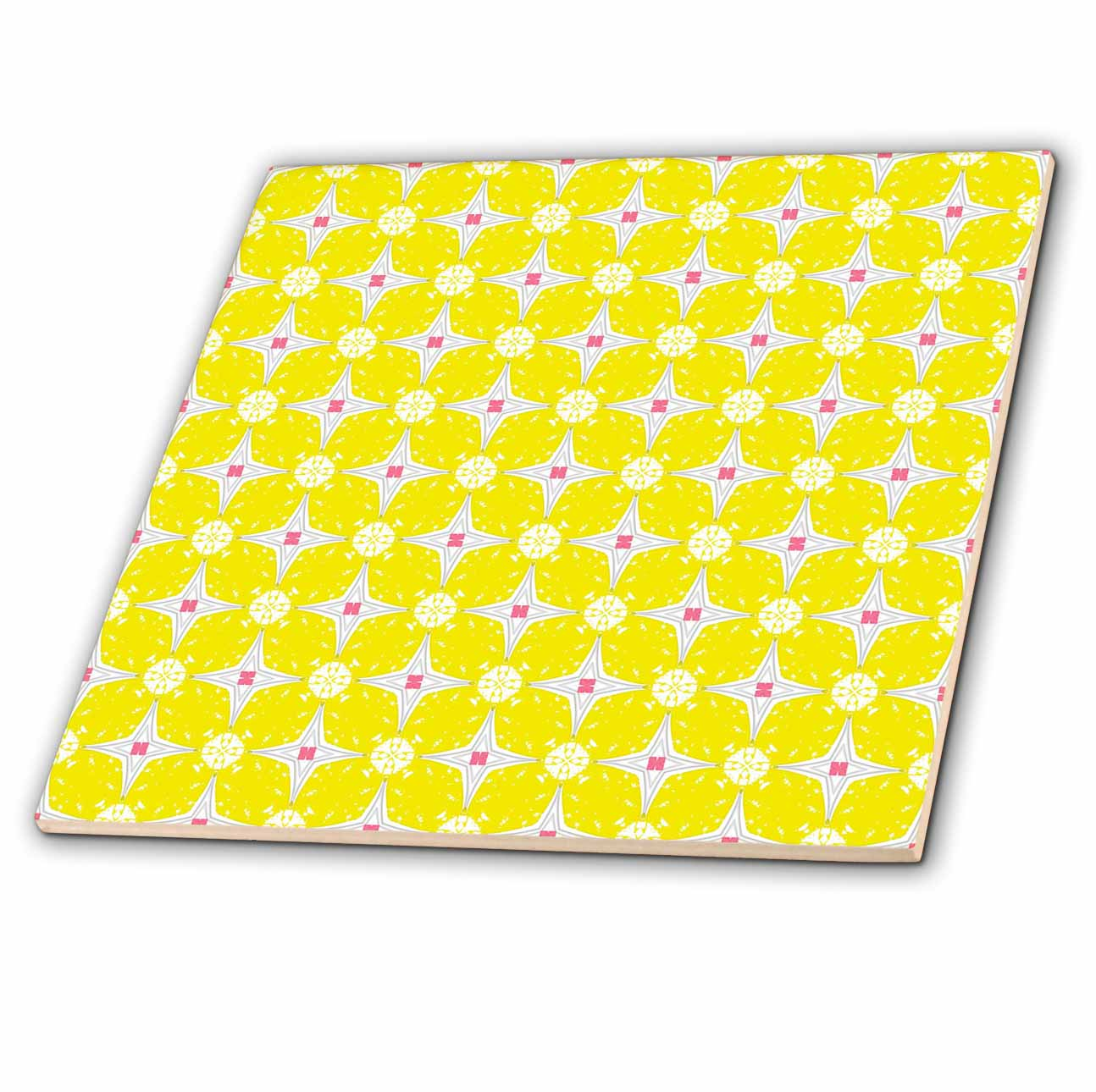 3dRose Bright White Four Point Stars With Pink Accent Against A Soft Yellow Background Kaleidoscope Pattern - Ceramic Tile, 12-inch
