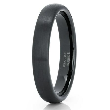 4mm Black Tungsten Wedding Band 4mm Tungsten Carbide Ring Anniversary Ring Men & Women Comfort Fit Ring Anniversary Rings Wedding Ring Bands