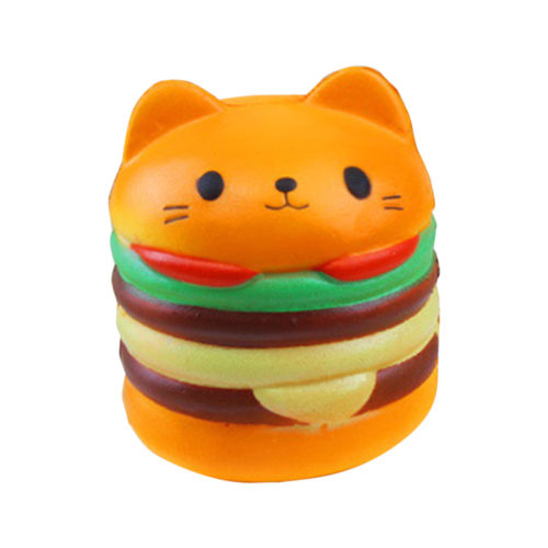 Jumbo Squishy Cute Hamburger Cat Slow Rising Cartoon Scented Bread Soft Fun Toy