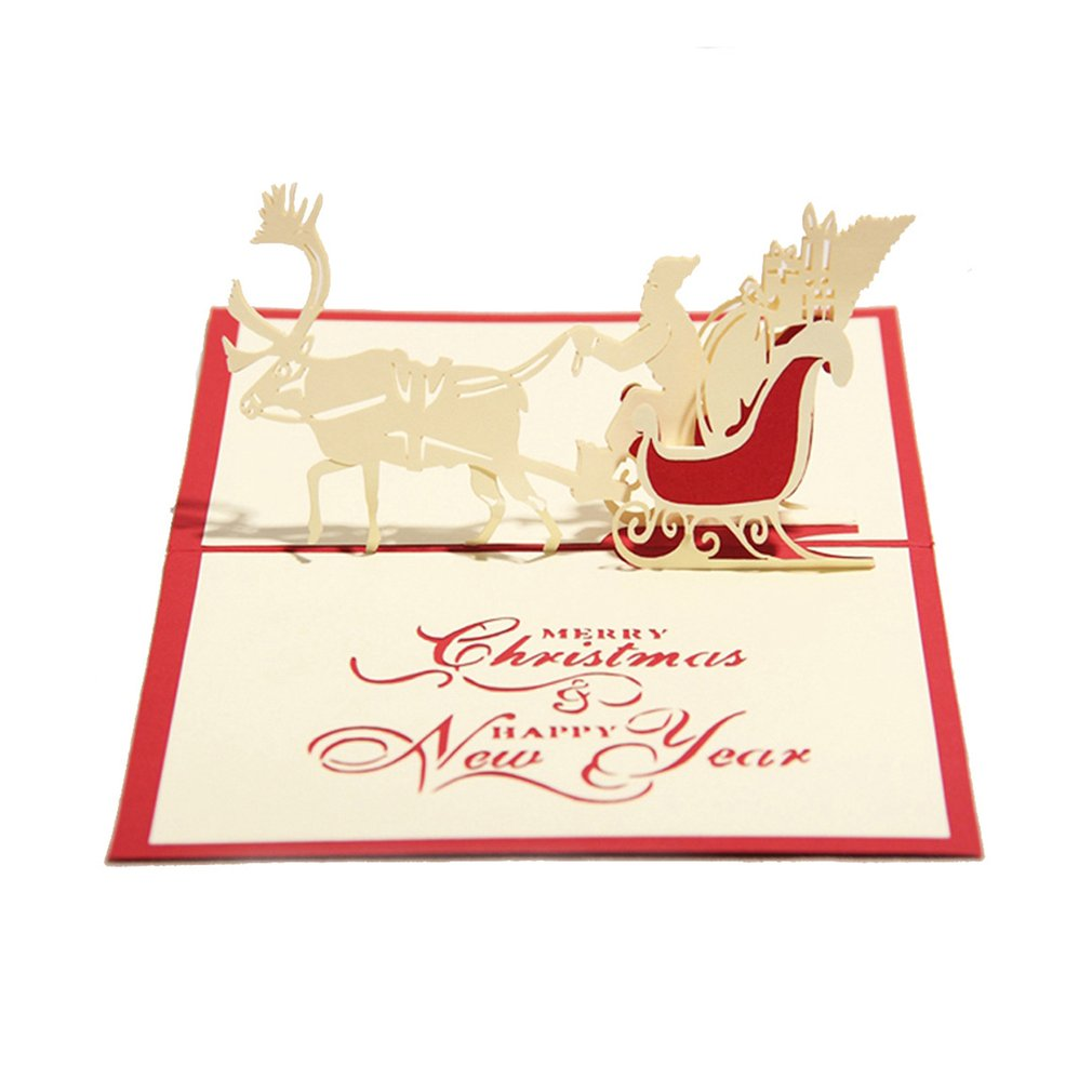 2 Pack Merry Christmas Card Deer Car Pop Up Card Laser Cut For Birthday Greeting Card, red