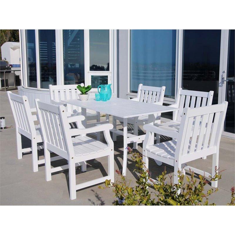 Vifah Bradley 7 Piece Hardwood Patio Dining Set in White