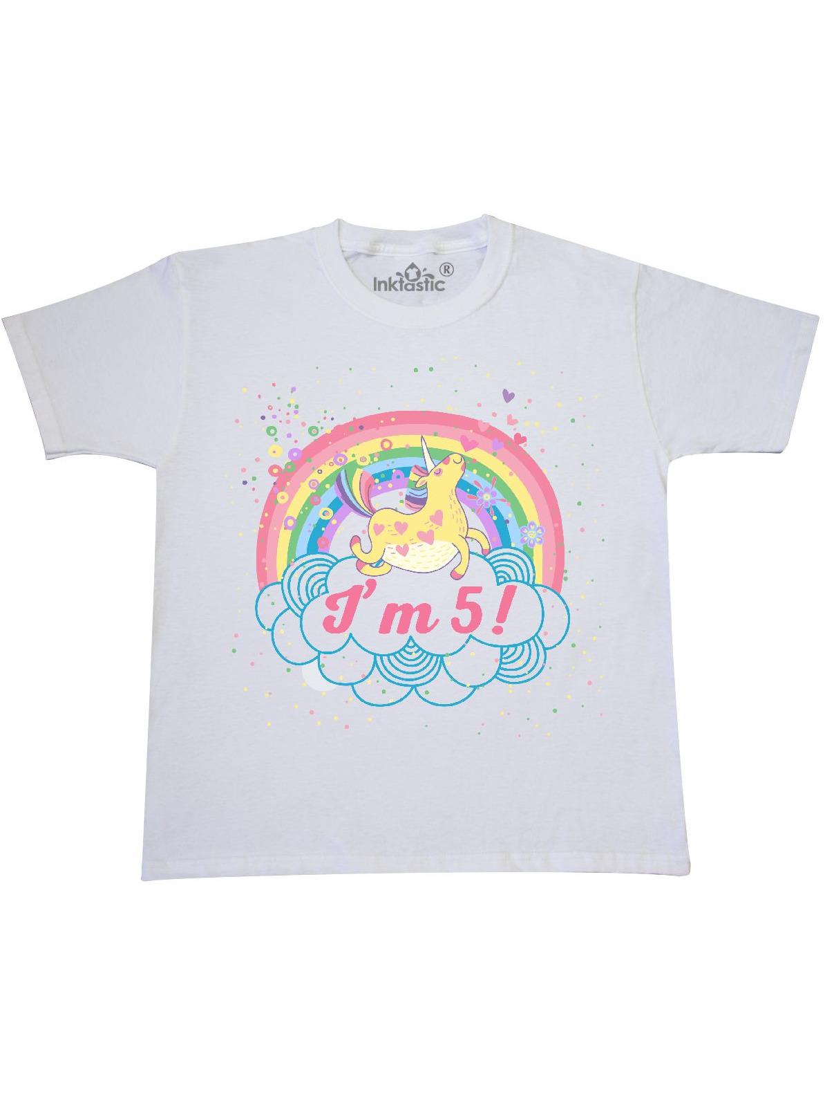 5th Birthday Unicorn Rainbow Girls Youth T-Shirt