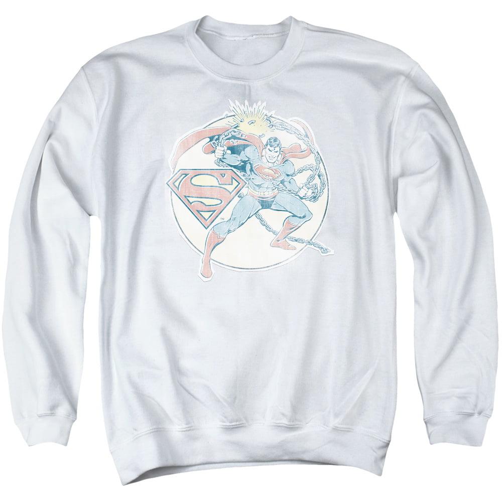 DCO/RETRO SUPERMAN IRON ON - ADULT CREWNECK SWEATSHIRT - WHITE - SM