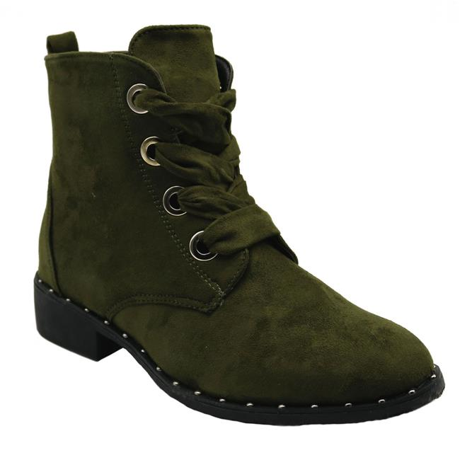 Jesco Footwear L-3800-320-008 2018 Holidays Collection Vivi-3 Blue Womens Low Heel Ankle High Lace Up Side Zip Fashion Winter Fall Boots - Olive, Size 8 - image 1 of 1