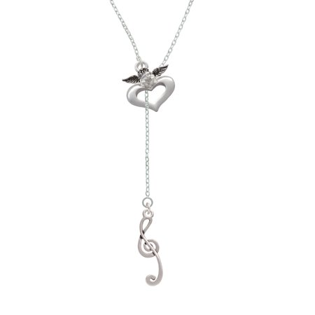 Long Lariat - Long Curly Clef - Guardian Angel Lariat Necklace