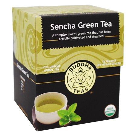 Buddha Teas - 100% Organic Herbal Sencha Green Tea - 18 Tea Bags