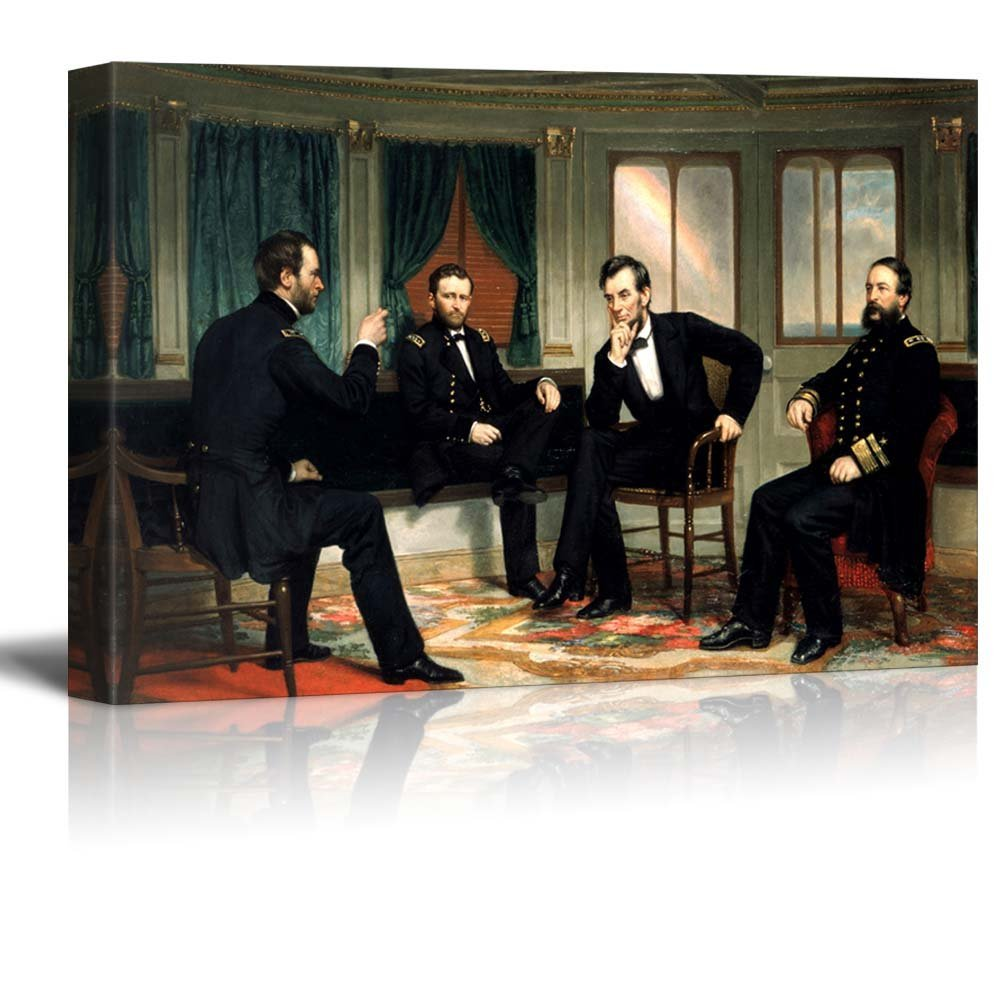 """The Peacemakers (Abraham Lincoln at Civil War Time) - Wrapped Canvas Print Modern Home Decor Wood Framed & Ready to Hang - 32"""" x 48"""""""