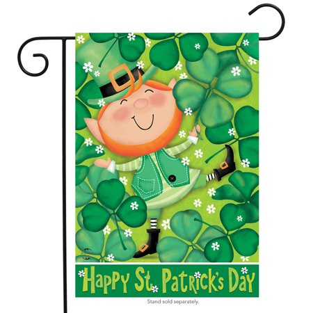 Lucky Leprechaun St. Patrick's Day Garden Flag Shamrocks Irish 12.5