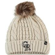 Colorado Rockies '47 Women's Meeko Cuffed Knit Hat with Pom - Cream - OSFA