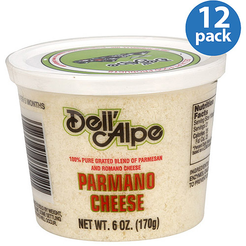 Dell'Alpe Grated Parmano Cheese, 6 oz, (Pack of 12)