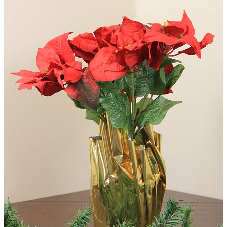 """24"""" Red Artificial Poinsettia Potted Christmas Plant with Gold Foil Covering"""