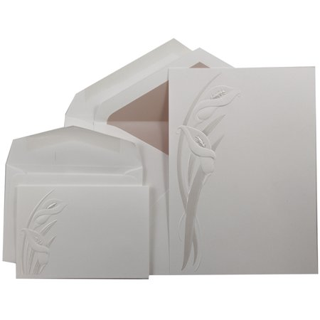JAM Paper Wedding Invitation Sets, White with Pearl Calla Lily Design, Powder Pink Lined, 1 Small Set & 1 Large Set, Lg: 50 Cards & 50 Inner/Outer Envelopes, Sm: 100 Cards & Envelopes