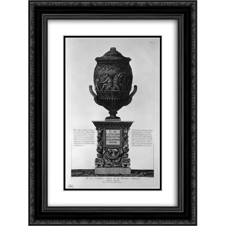 Giovanni Battista Piranesi 2x Matted 20x24 Black Ornate Framed Art Print 'Antique vase of marble with kneeling figures drinking from hippogryphs, with chandeliers and a pedestal corner'
