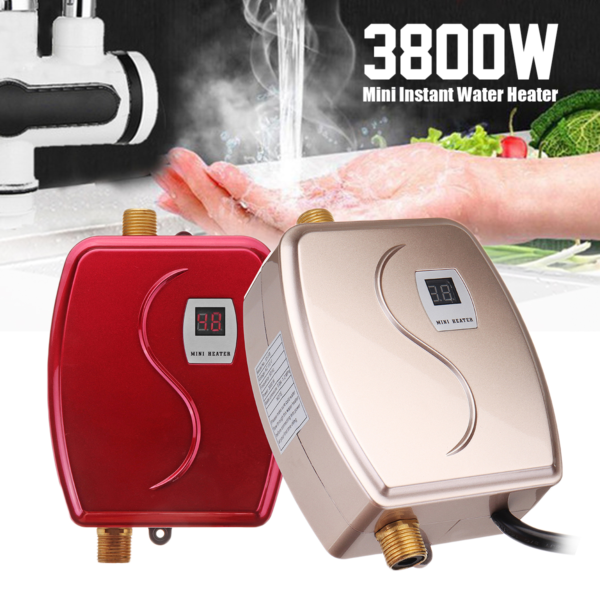 110V 3.8kW Smart Instant Electric Tankless Water Heater Constant Temperature Safety Hot Water System Appliance for Kitchen Washing Faucet Bathroom Shower Heating Tool