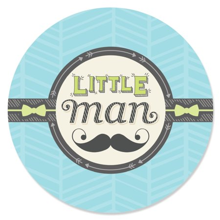 Dashing Little Man Mustache -Circle Sticker Labels - 24 - Mustache Man