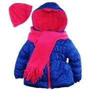 Pink Platinum Little Girls' Cheetah Print Puffer Winter Coat Hat and Scarf Set
