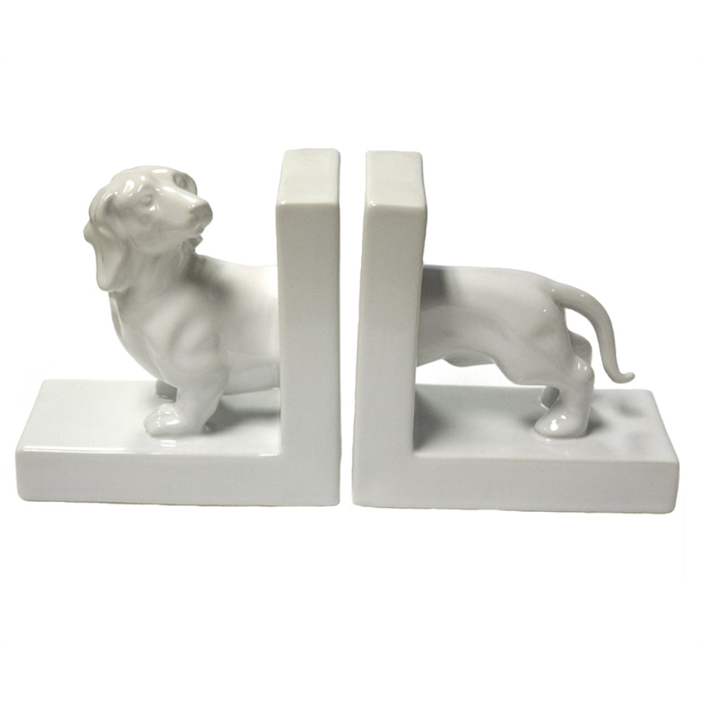 Decorative Ceramic Dachshund Bookends, White, Set Of 2 by Benzara