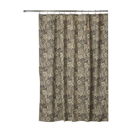 Thomasville At Home Paddock Shawl Onyx Cotton Extra Long Shower Curtain