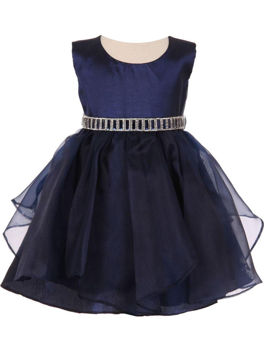 Baby Girls Navy Organza Taffeta Rhinestone Cascade Occasion Dress 24M