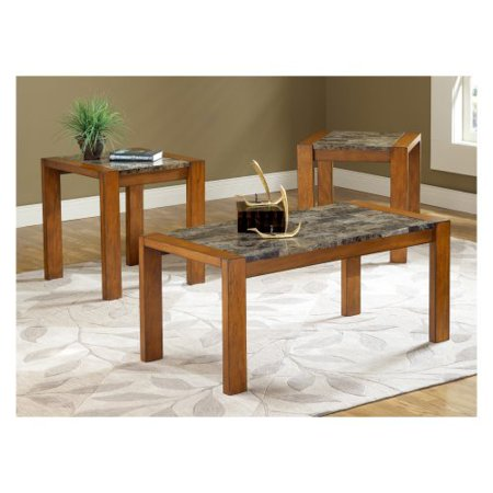 bernards faux marble 3 piece coffee table set