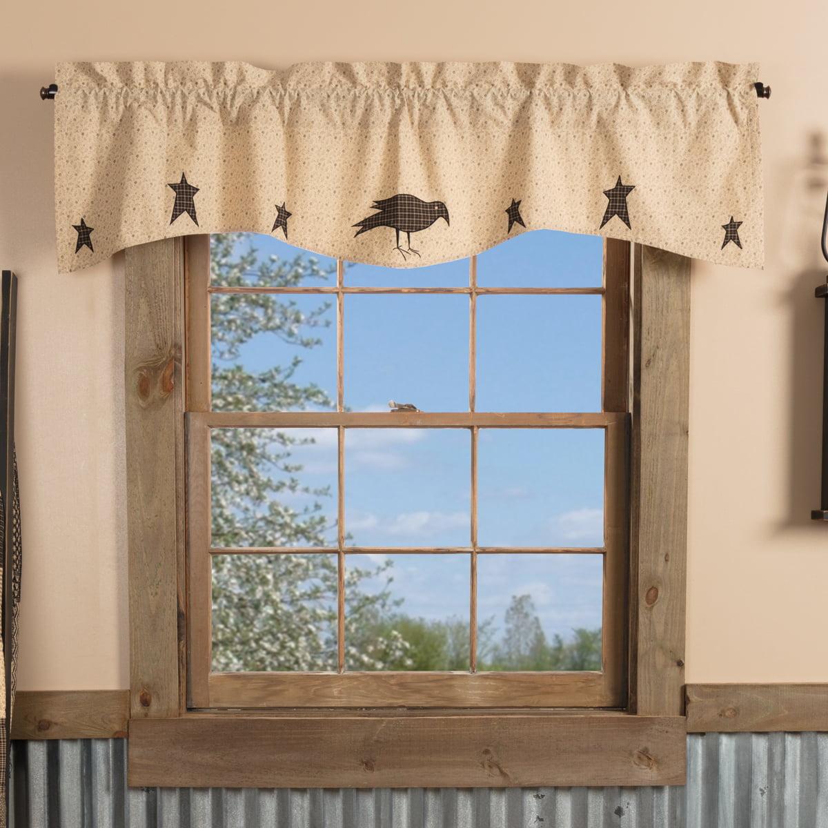 Dark Creme Tan Primitive Kitchen Curtains Prim Grove Crow