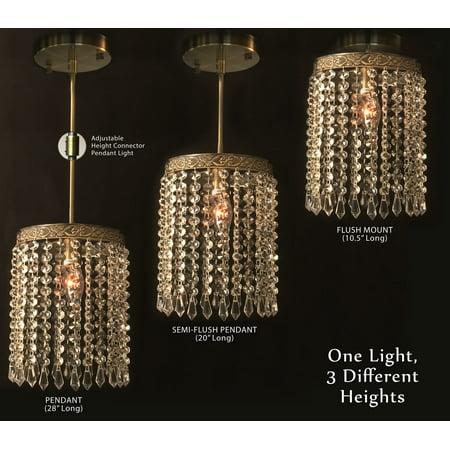 Cal Royal Antique Brass - Royal Designs Ashley Clear Crystal 1 Light Socket Antique Brass Finish Chandelier Ceiling Light
