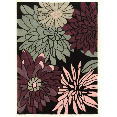 Image of Linon Trio Collection Vibrant Floral Indoor Area Rug