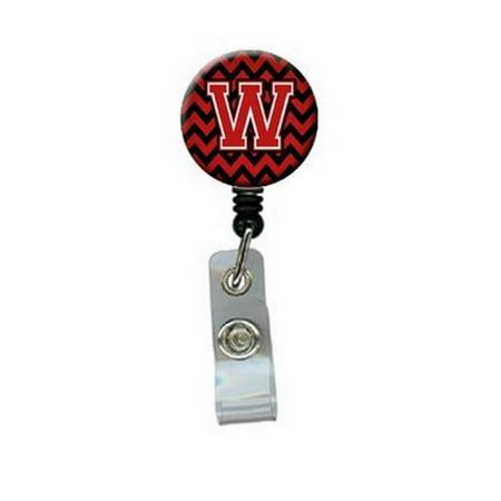 Carolines Treasures CJ1047-WBR Letter W Chevron Black & Red Retractable Badge Reel - image 1 de 1
