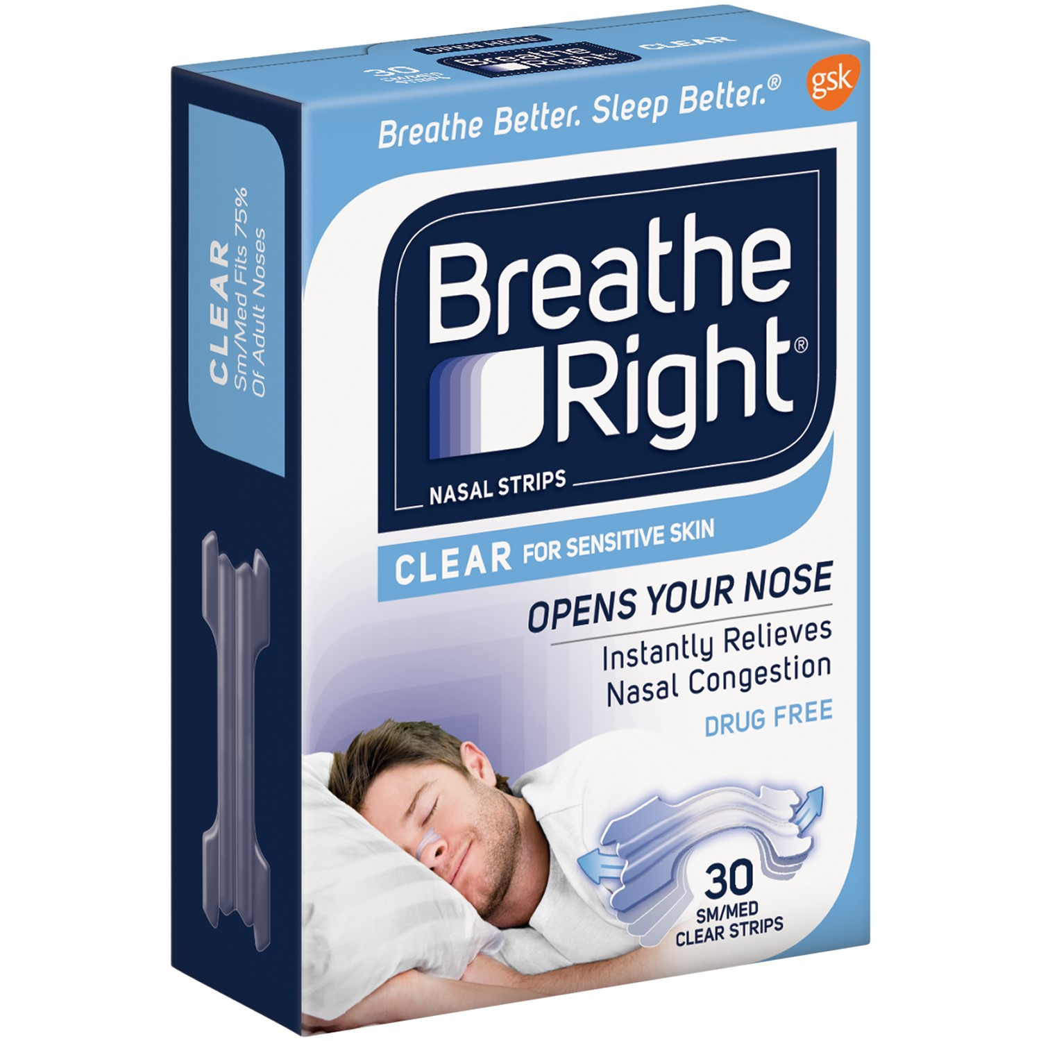 Breathe Right Drug Free Snoring & Congestion Nasal Strips, Clear, Small/Medium, 30 Ct