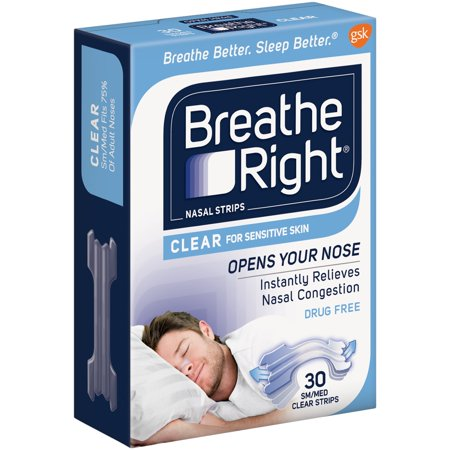 Breathe Right Drug Free Snoring   Congestion Nasal Strips  Clear  Small Medium  30 Ct