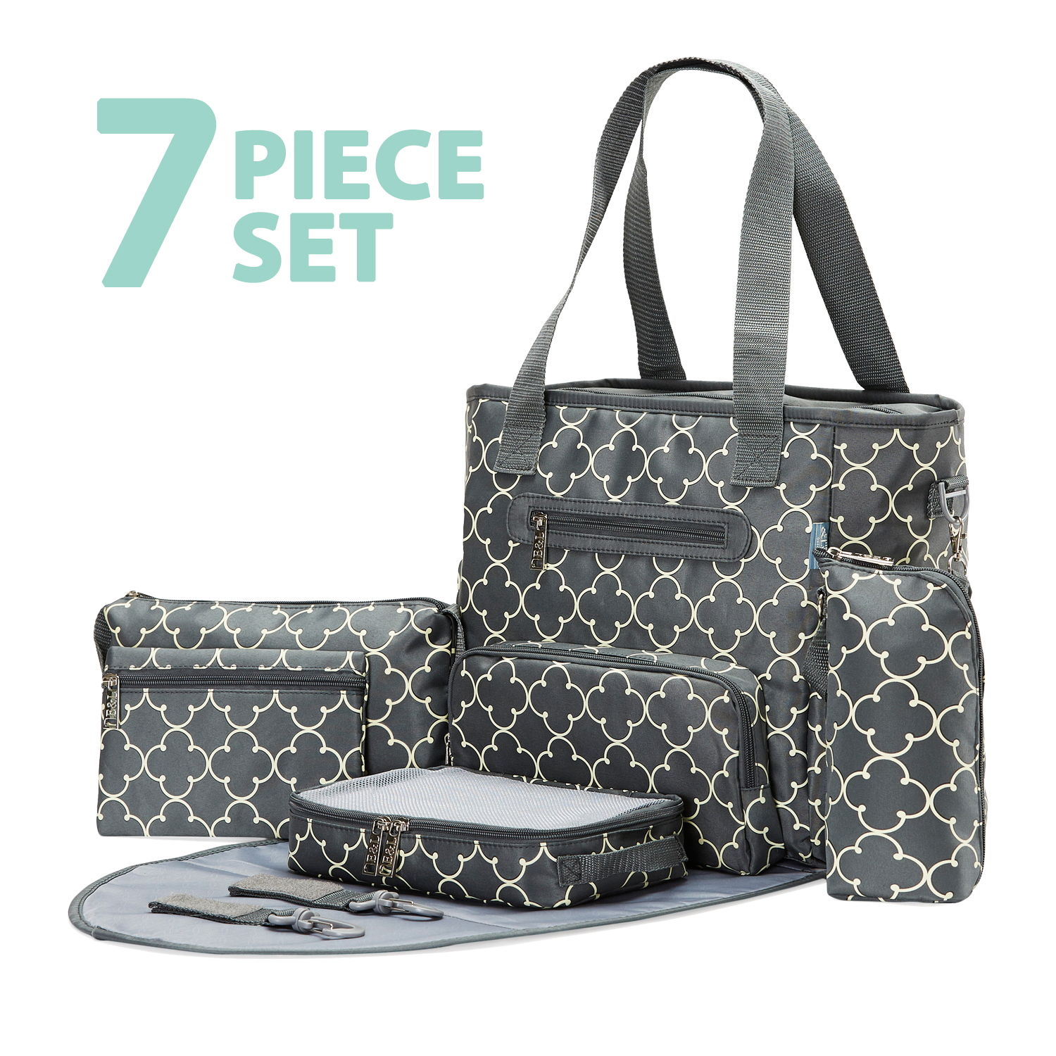 Soho Collections, Large Tote Diaper Bag, 7 Piece Complete Set with Stroller Straps, Grand Central Station (Gray Charlotte)