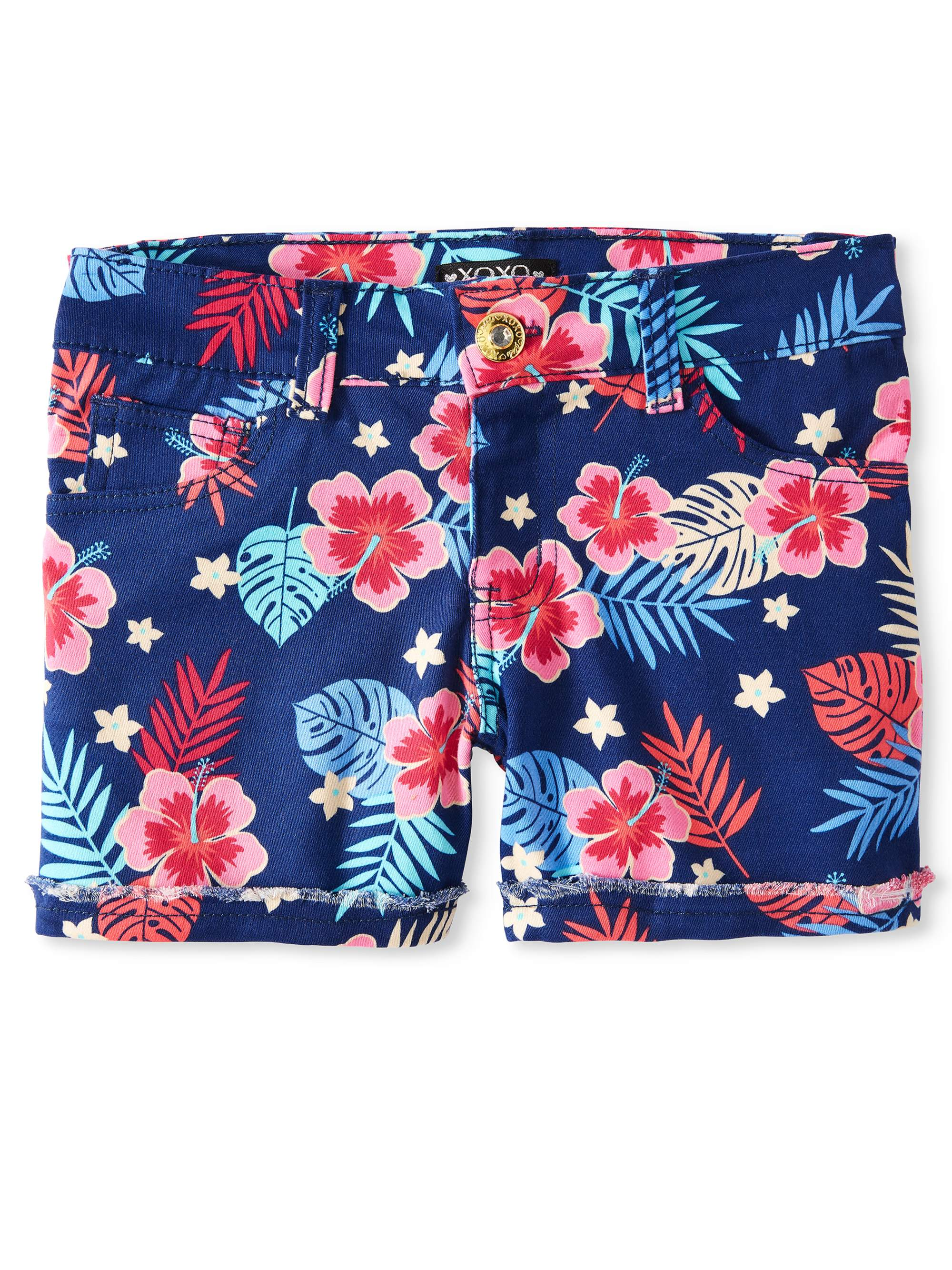 Girls' Tropical Print Denim Short