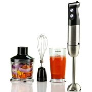Ovente Multi Purpose Immersion Hand Blender Set 500 Watts with 6 Speeds Control and 3 Premium Attachments including BPA-Free Food Processor, Egg Whisk, and Mixing Beaker, Black (HS685B)