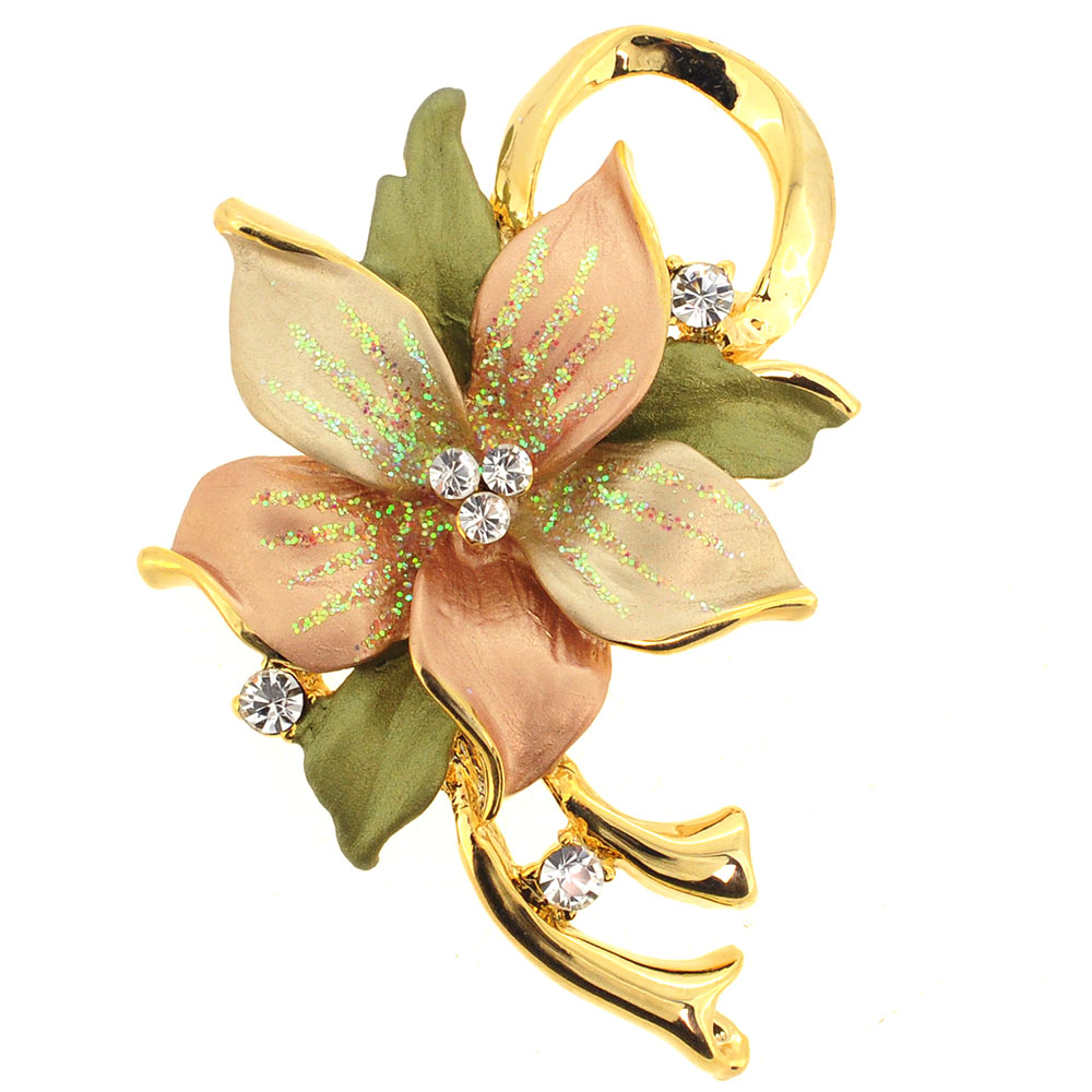 Topaz Poinsettia Swarovski Crystal Flower Brooch Pin and Pendant by