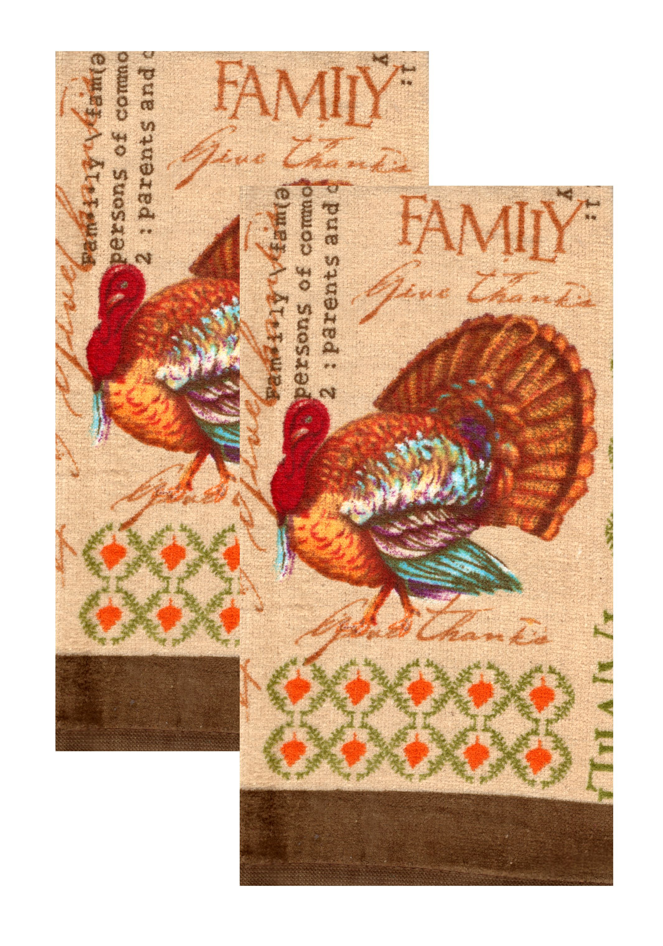 Ordinaire Kitchen Towels Thanksgiving Turkey Family Give Thanks, Set Of 2    Walmart.com