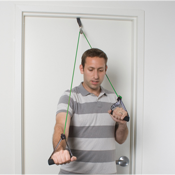 CanDo shoulder pulley w/tubing and handles, medium, green