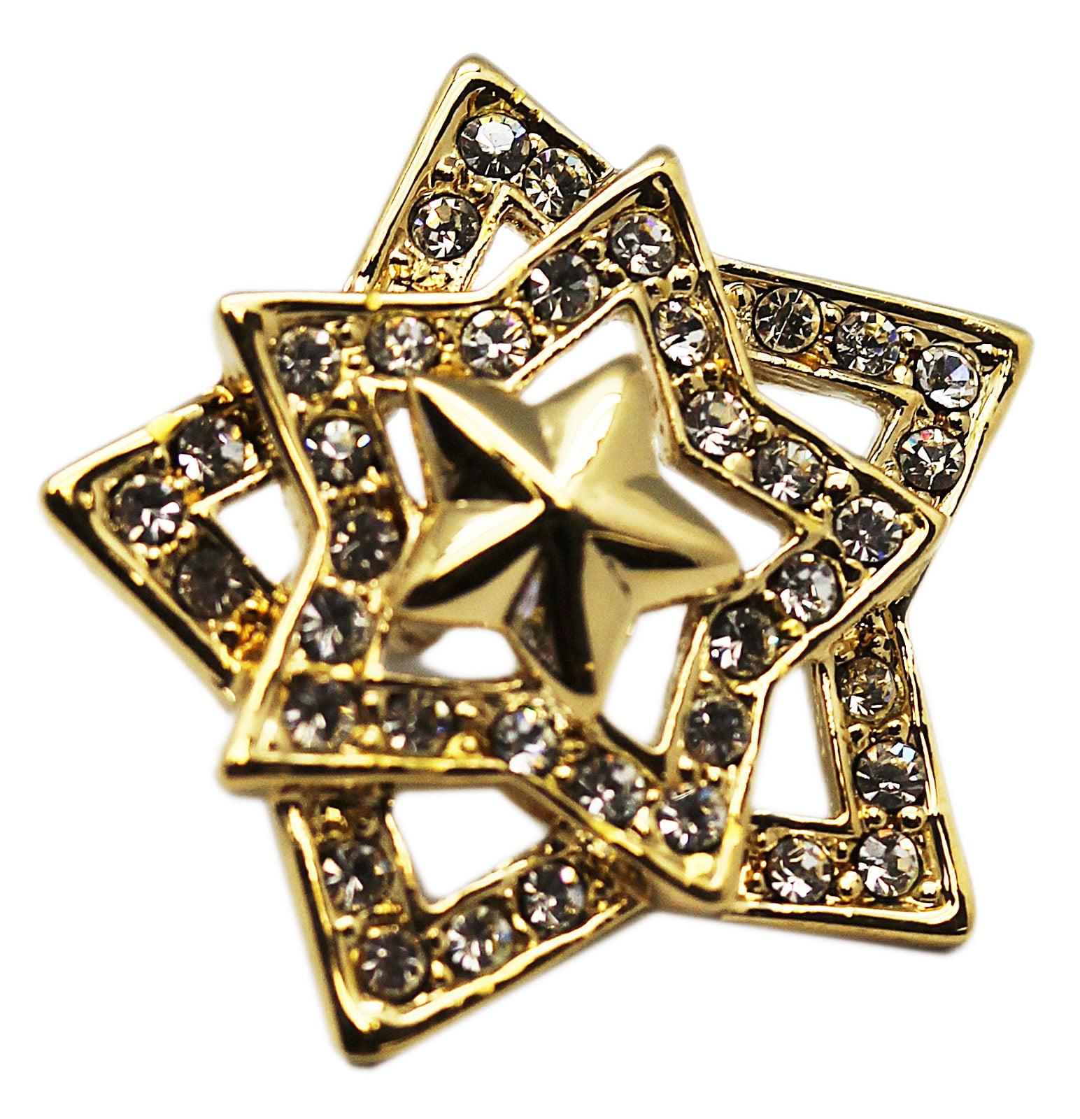 Small Golden Star Lapel Pin With Brilliant Rhinestone Diamonds